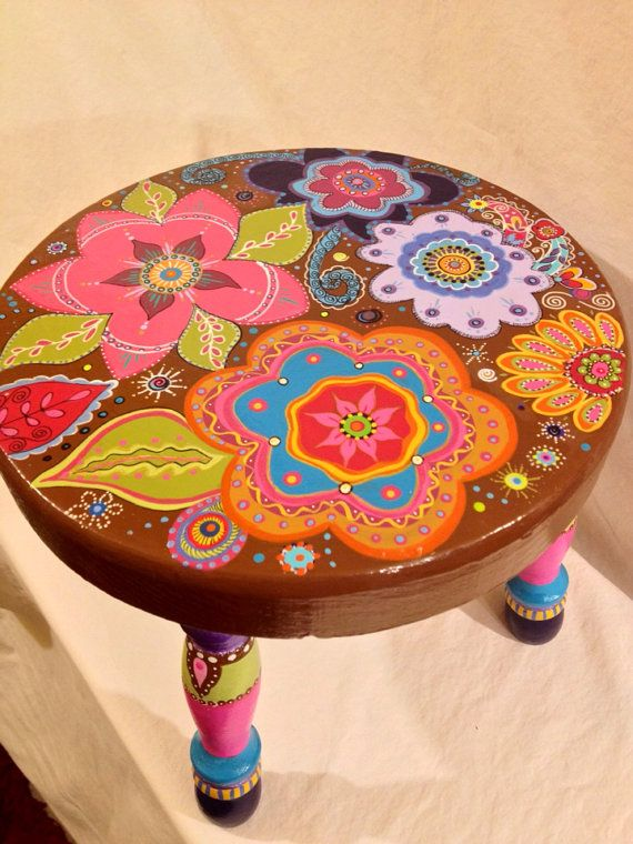 BoHo Handpainted Childrens Stool by BoHoExpressions on Etsy, $95.00