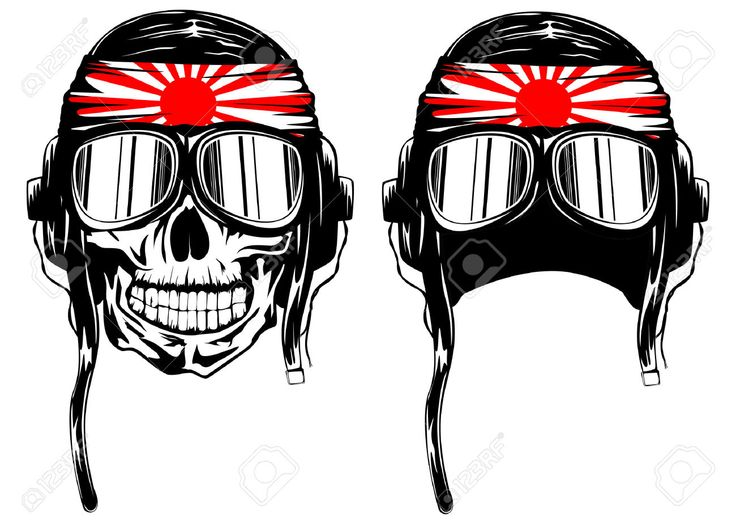 vector illustration of skull of kamikaze in helmet with