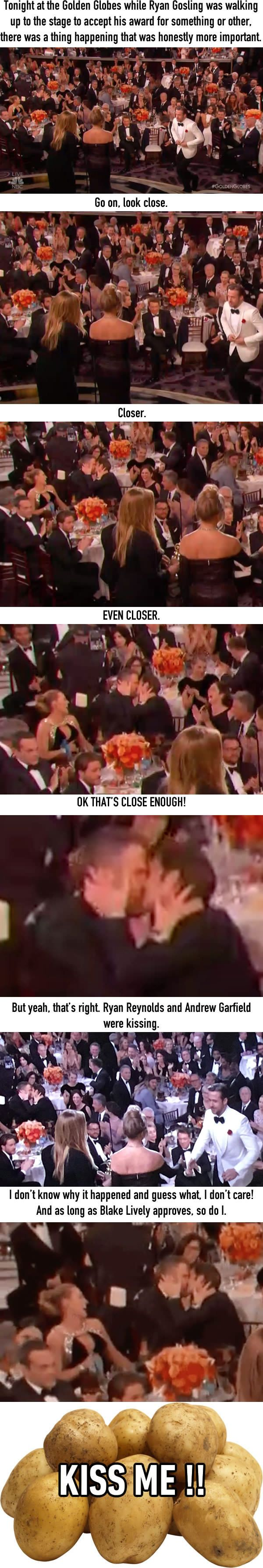 While Ryan Gosling Was Winning, Ryan Reynolds And Andrew Garfield Were Kissing