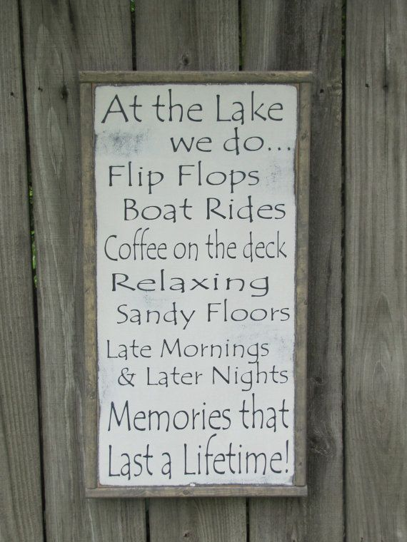 At the Lake Wood Sign Lake Rules Wooden Sign by leapoffaithsigns