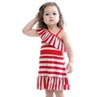 Frida Dress Red & Grey Stripes
