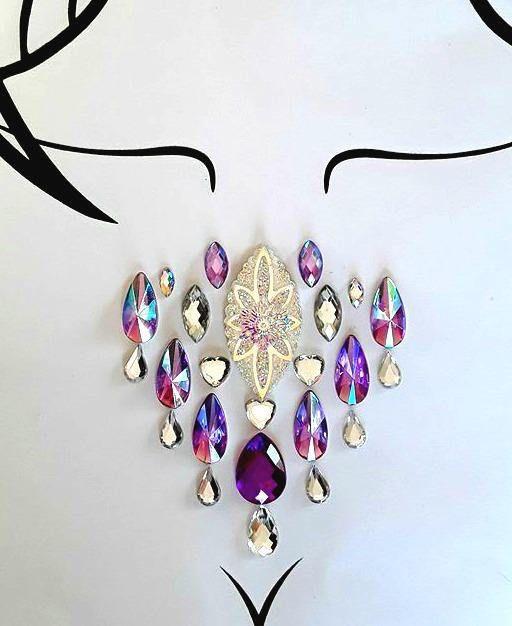 Jasmine  Body jewels purple rhinestone festival self adhesive