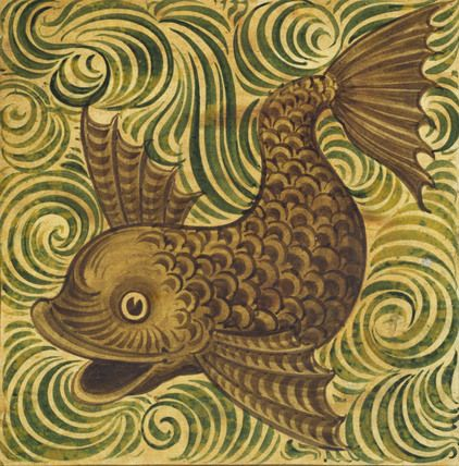 A stylized dolphin tile by English potter William de Morgan, key figure in the Arts & Crafts movement.