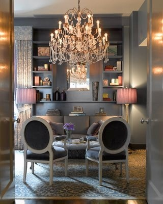 vintage gray office space with organic non-toxic paint, repurpose vintage furniture and add a reclaimed crystal chandelier - Ohhhh, I think this may be my office look!