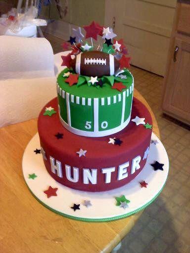 Football birthday cake for someone named Hunter!
