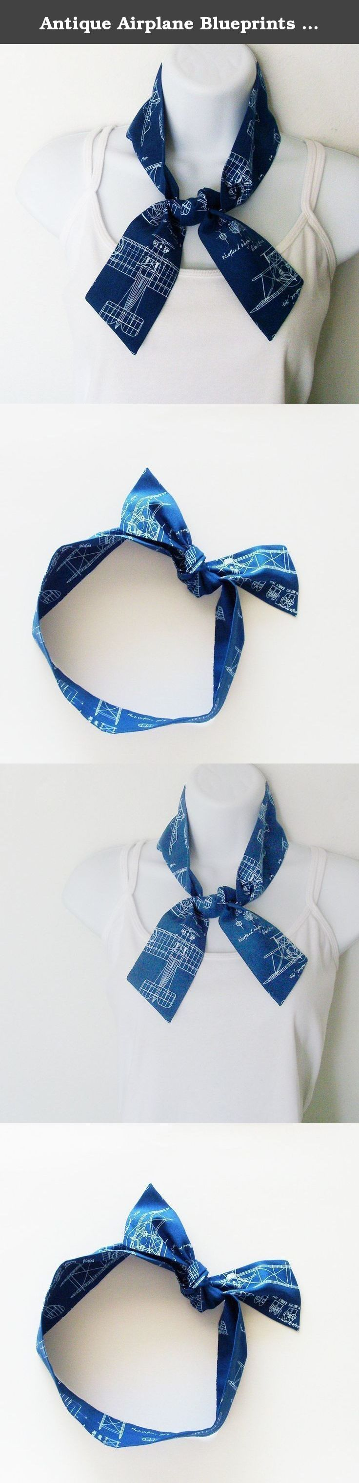Antique Airplane Blueprints Head Scarf / ME2Designs Handmade Multipurpose Cotton Scarf - Tie - Adornment. This reversible antique airplane blueprints head scarf has versatile uses! Tie it on your head with the bow at the top of your head (rockabilly style), on the side, or tie it at your neck. You can also pop the scarf around your neck for a skinny neck scarf addition to your outfit. Another use is to tie the scarf around the handle of your handbag or tote, or on a walker for adornment…