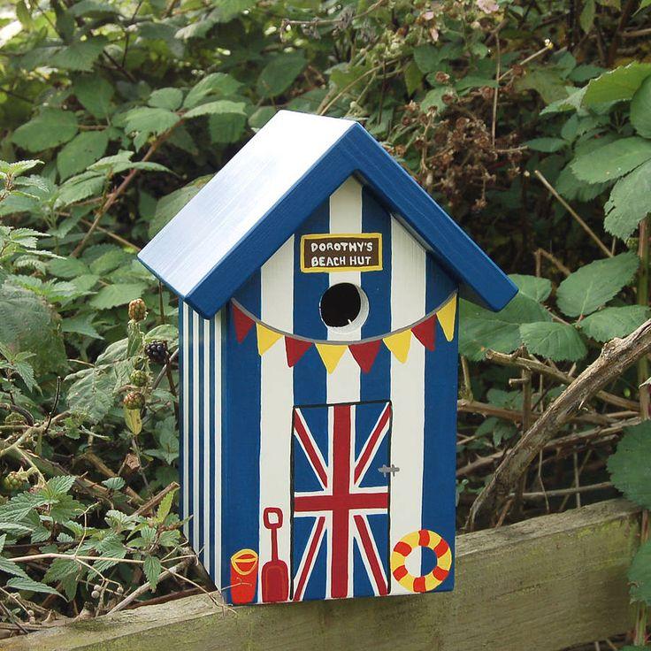 personalised union jack beach hut bird box by lindleywood | notonthehighstreet.com