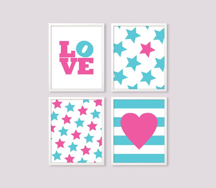 Girl room art, Instant Download LOVE print, Girl Room Decor, pink turquoise wall art, turquoise girl room, pink stars print, set of 4 prints by Especia on Etsy