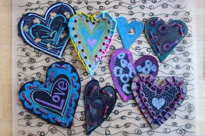 Creative Valentines Made Using Metallic Art Supplies