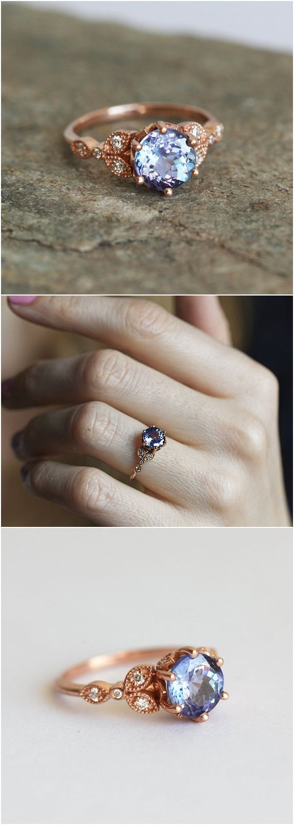 Not crazy about the colors but I like how this looks!! Engagement ring, Floral Engagement Ring, Leaf Engagement Ring, Blue Engagement Ring, Tanzanite Diamond Ring, Gold Tanzanite Ring