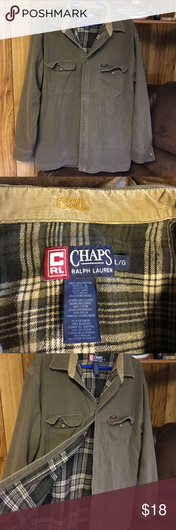 Ralph Lauren Chaps Large Men's Flannel shirt lined inside Large Ralph Laure Chaps brown outside with brown dark green and tan inside color has a tan corduroy trim 2 front button pockets great condition Ralph Lauren Shirts Casual Button Down Shirts