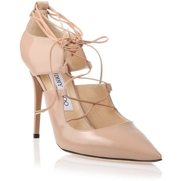 Jimmy Choo Hoops nude leather pump ($950) ❤ liked on Polyvore featuring shoes, pumps, heels, nude shoes, stiletto pumps, ballet shoes, nude heel shoes and high heel shoes