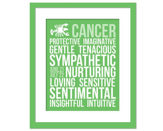 Cancer Personality Character Traits - Subway Art Print - Typography Poster - 8 x 10 Wall Decor - Birthday Gift
