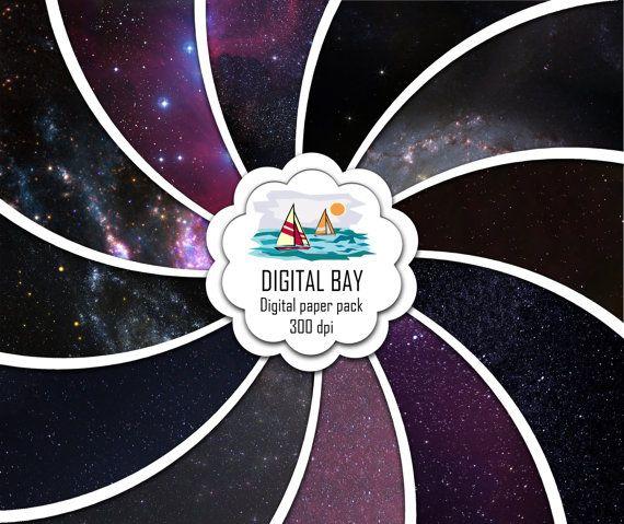 NIGHT SKY GALAXY Digital paper pack  Instant by DigitalBay on Etsy