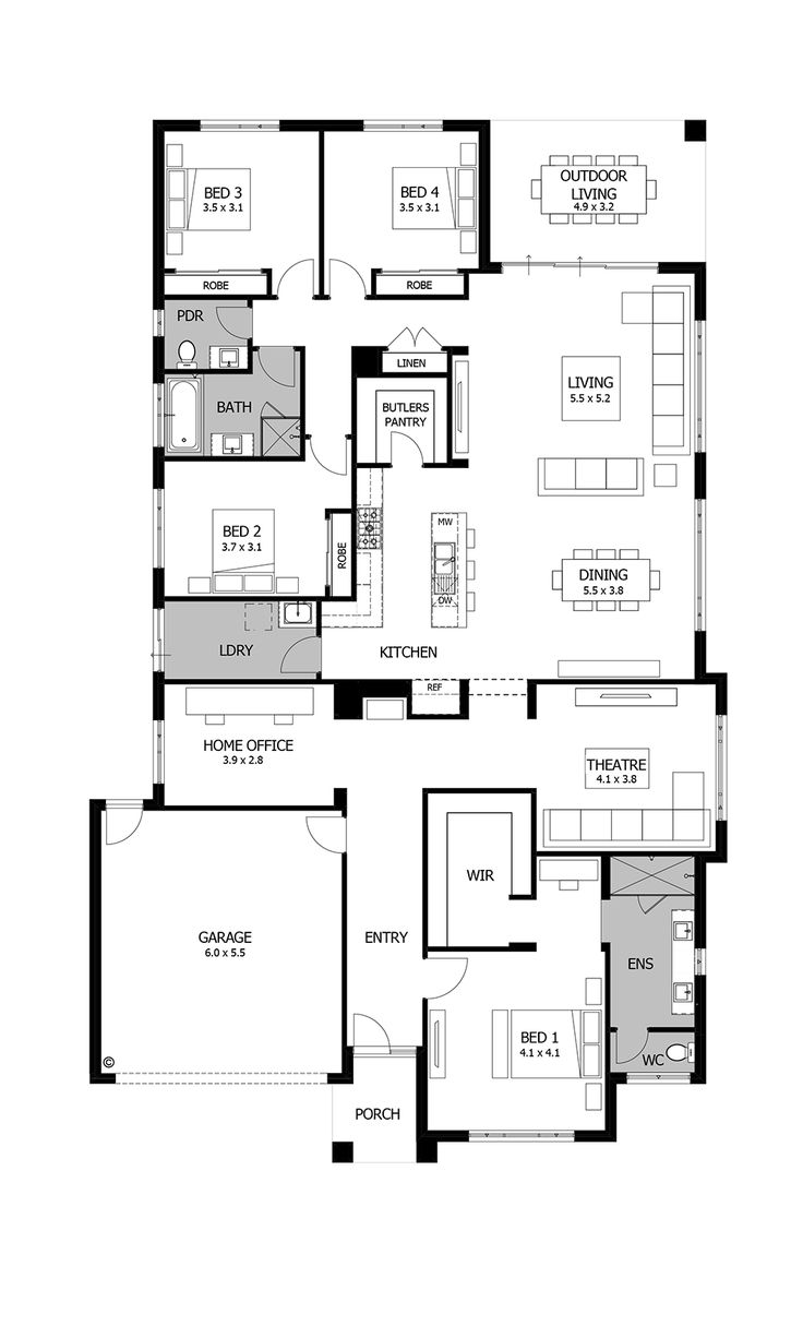 Plan For House floor plan for small 1200 sf house with 3 bedrooms and 2 bathrooms Barcelona By Boutique Homes Floor Plan