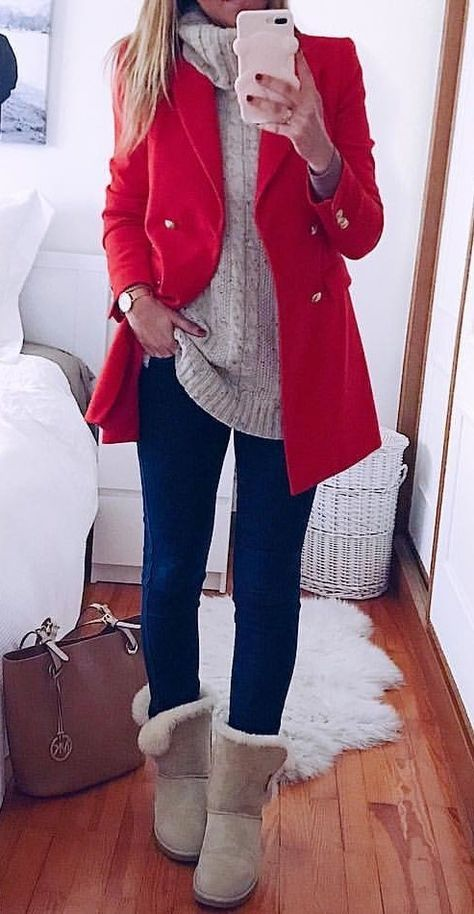 #winter #outfits red double-breasted coat