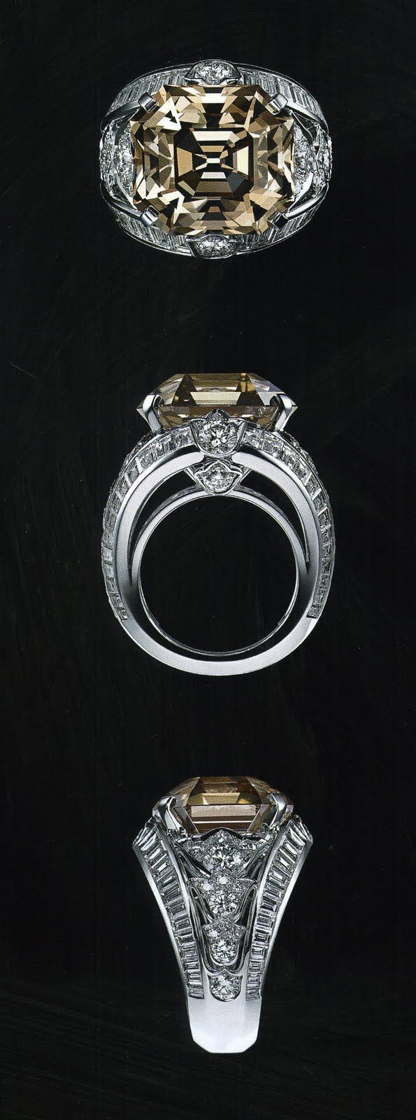 Men's Ring - Cartier Platinum Ring / emerald-cut 24 carat brown diamond and 31 diamonds