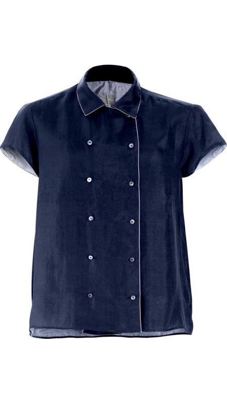 Navy, double-breasted silk shirt, cap sleeves, with silk piping, and Mother of Pearl buttons.  Silk lining.