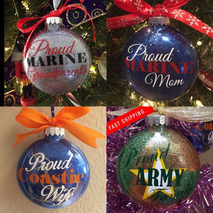 Military Gifts. Diy christmas ornaments, Vinyl ornaments