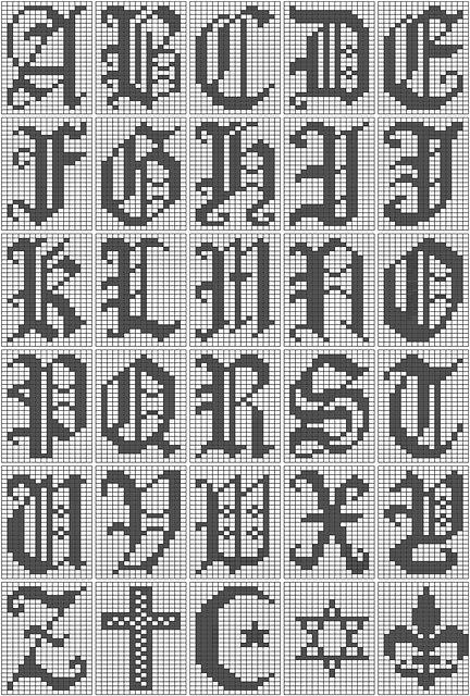 Filet Crochet Alphabet Script Chart