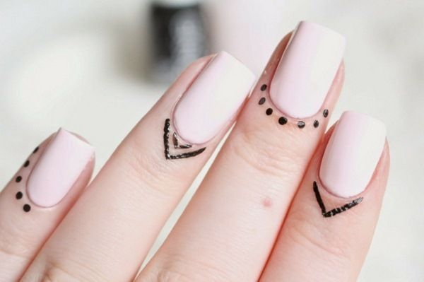 Trend 2016 nail design simply tattoo cuticles punte nail polish white