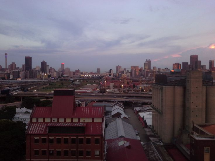 View over Johannesburg CBD from roof recreational area on top of containers