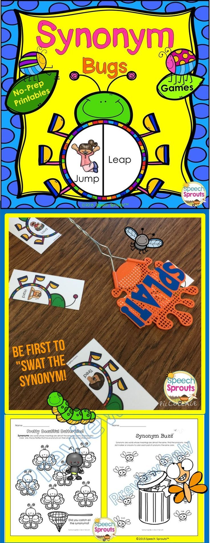 $ Synonym Bugs: Tons of buggy synonym practice with 15 no-prep interactive printables and 2 adorable card games! #speechsprouts