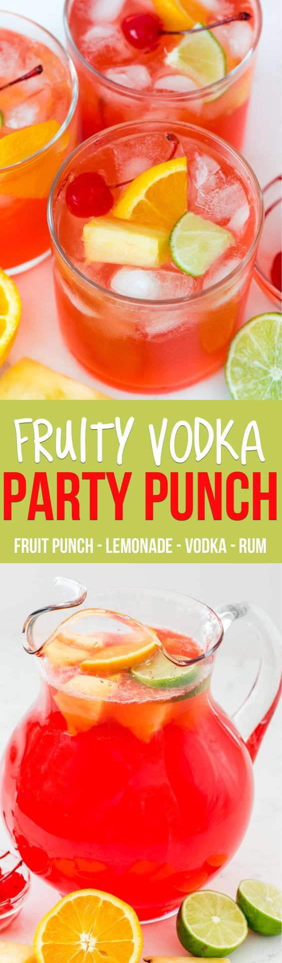 Fruity Vodka Party Punch is the perfect cocktail recipe for a party! This drink is full of lemonade and fruit punch, rum, and vodka and is the perfect easy punch recipe.