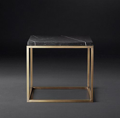 RH Modern's Nicholas Marble Rectangular Collection - White Marble & Burnished Brass