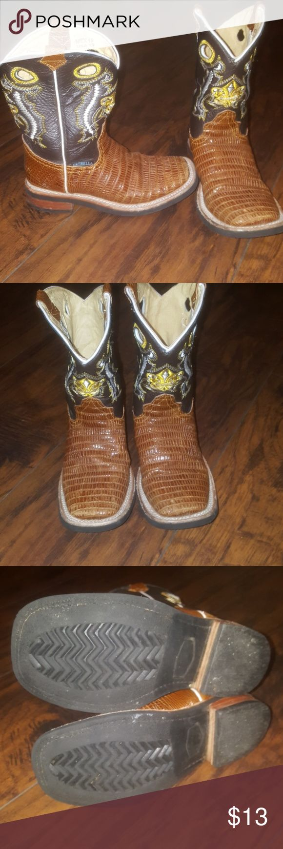 BOYS COWBOY BOOTS Size 12 American boys cowboy boots Estrella Brand No major flaws just had stored Ships next day Black and Brown Shoes Boots