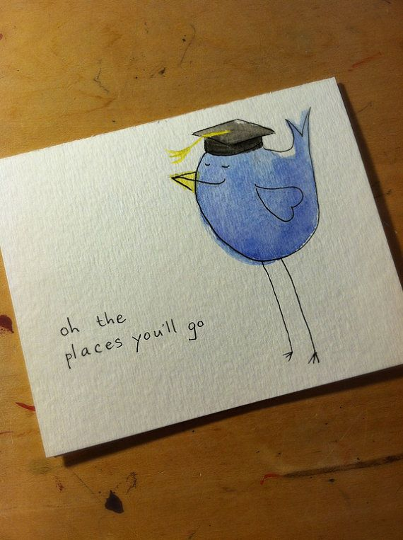 Graduation Birdie Card Congrats by rewersdesigns, $4.00