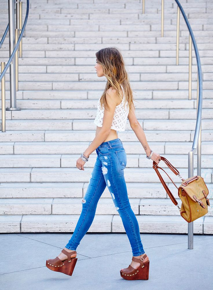 Worn Thin Skinny Jeans, Summer Behavior Wedge & Off Campus Satchel Backpack - crop top coming soon!