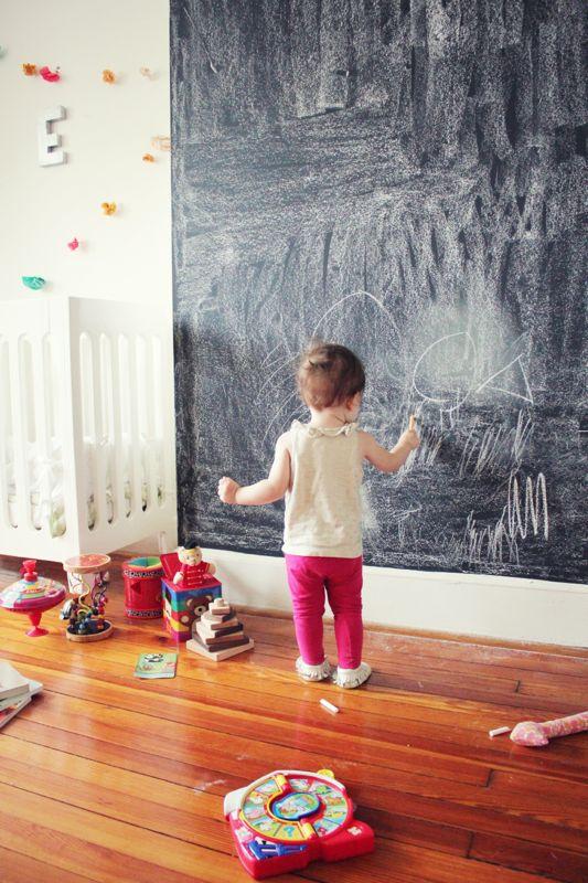 Loving this DIY chalkboard wall for a playroom.