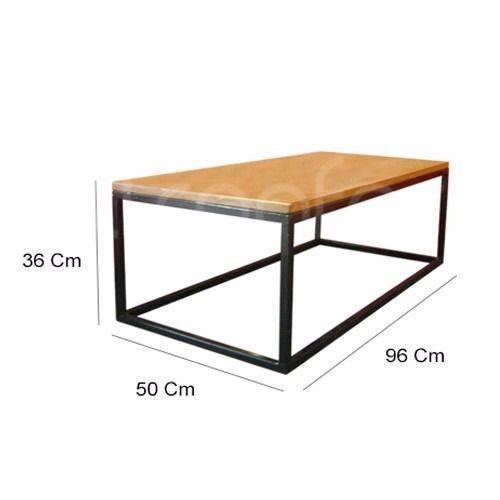 mesa ratona hierro madera industrial living sofá brickmaker