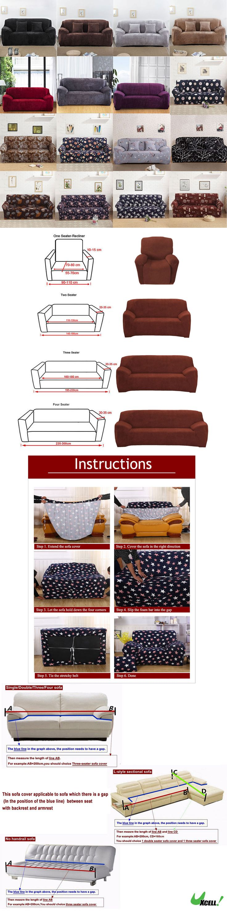 furniture: L-Shaped Stretch Sofa Covers Chair Covers Couch Sofa Slipcovers For 1 2 3 Seater BUY IT NOW ONLY: $42.99