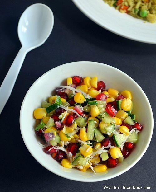 Corn, Cucumber & Pomegranate Salad by chitrasfoodbook #Salad #Healthy #Corn #Cucumber #Pomegranate