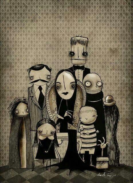 Adams family I absolutely love this illustration so cartoony/Tim Burtony!
