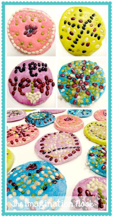 Diwali -  Rangoli art for kids use salt and flour dough to make a pattern.