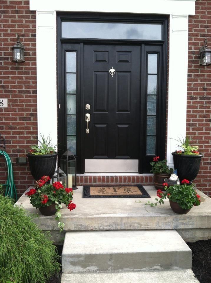 All black front door