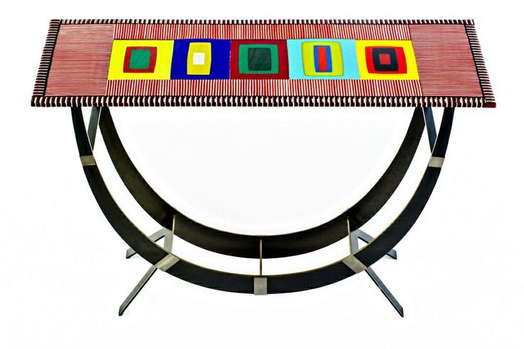 Invented arch fused glass table. Hand made one of a kind by Helen Rudy