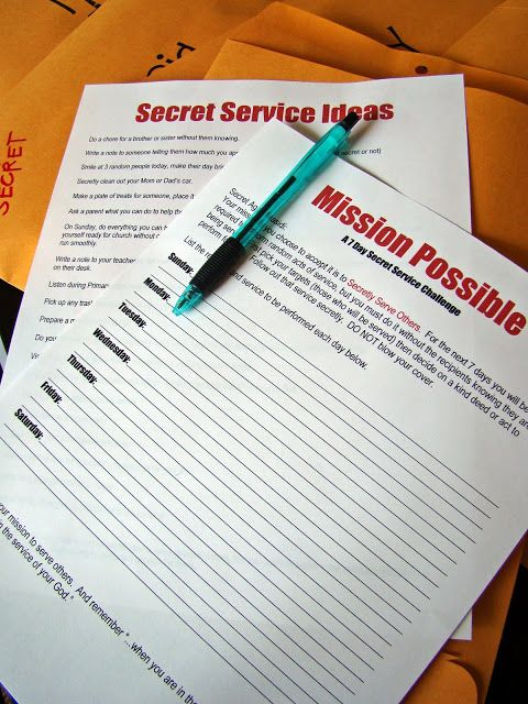 Secret Service (Kindness Activity)...have one for each student in an envelope, maybe have each student have a specific task (e.g. talk to someone who is alone, say please and thank you, hold the door open for someone, tell your teacher thank you each day)...or have them exchange names for the holidays to perform acts of kindness (lesson about taking care of one another).