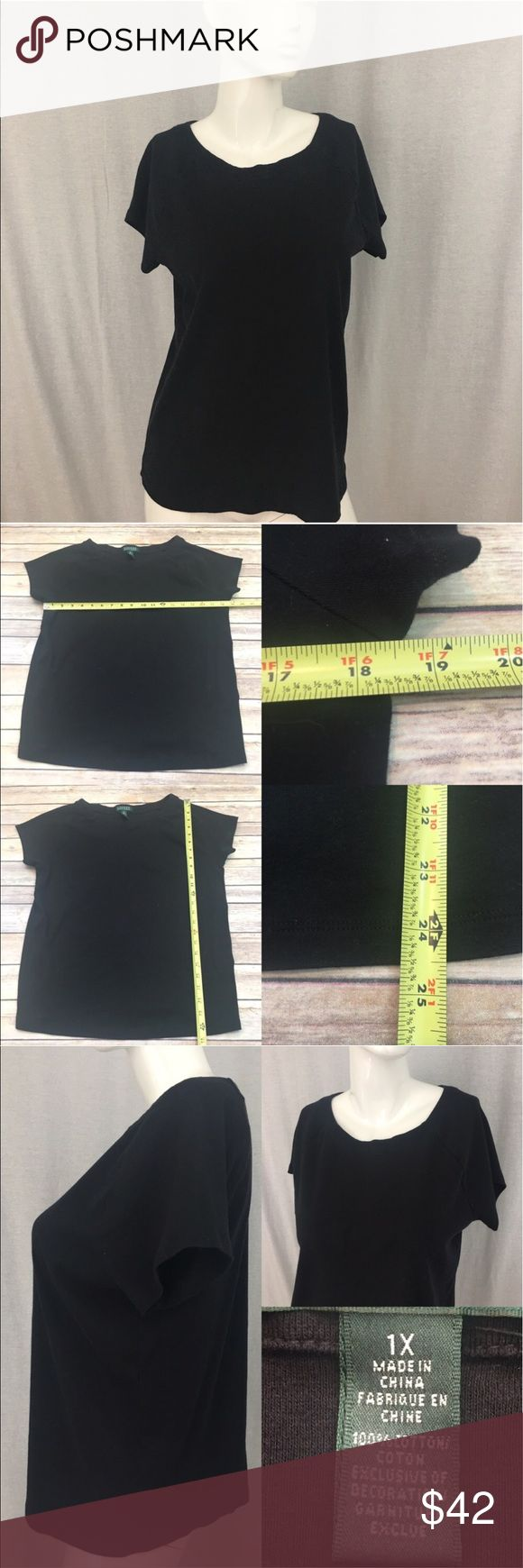 🌷Size 1X Ralph Lauren Black Short Sleeve Top Measurements are in photos. Normal wash wear, no flaws. C2/27  I do not comment to my buyers after purchases, due to their privacy. If you would like any reassurance after your purchase that I did receive your order, please feel free to comment on the listing and I will promptly respond.   I ship everyday and I always package safely. Thank you for shopping my closet! Lauren Ralph Lauren Tops Tees - Short Sleeve