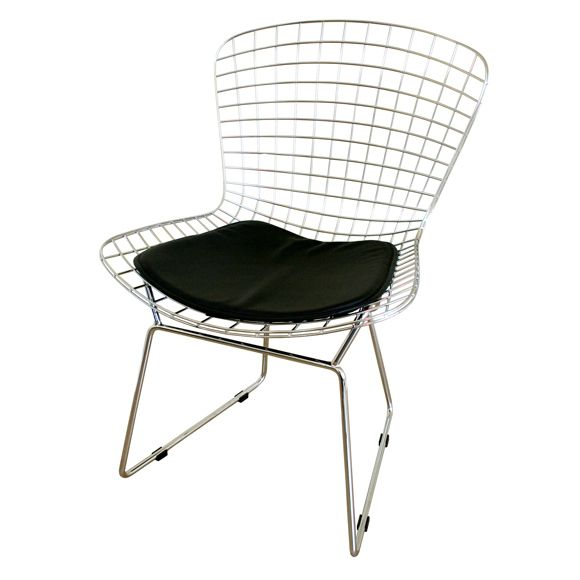 Chrome Wire Chair with Black Seat Pad, MM-8033-BLACK by Mod Made | BizChair.com