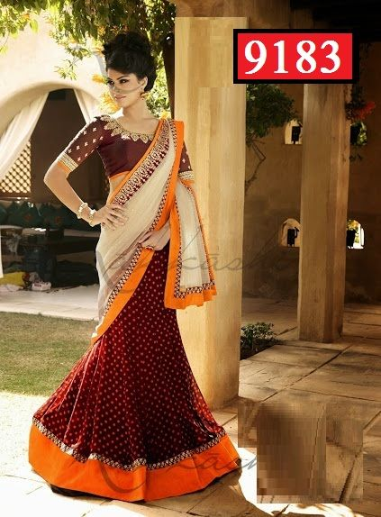 Designer Orange Net Print Fabric Lehenga Saree