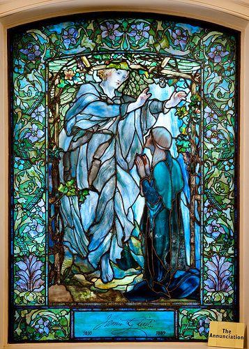 The Annunciation, Tiffany glass window, lower level, Arlington Street Church, Boston.