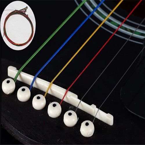 HT493 - 6PCS Fashion Cool Useful Colorful Color Guitar Strings For Acoustic Guitar 1 Set