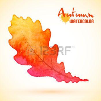 dibujos de hojas de otoño: Hoja de roble amarillo del otoño, pintura botánica acuarela