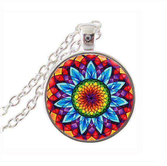 Ом ожерелье мандалы подсолнечника ювелирные изделия из стекла кабошон ожерелье серебряная цепочка колье женщины ювелирные изделия йога янтра ожерелье
