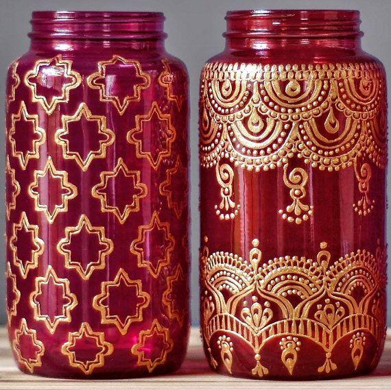 Patio bohemio tarro de masón con diseño de Henna Mehndi