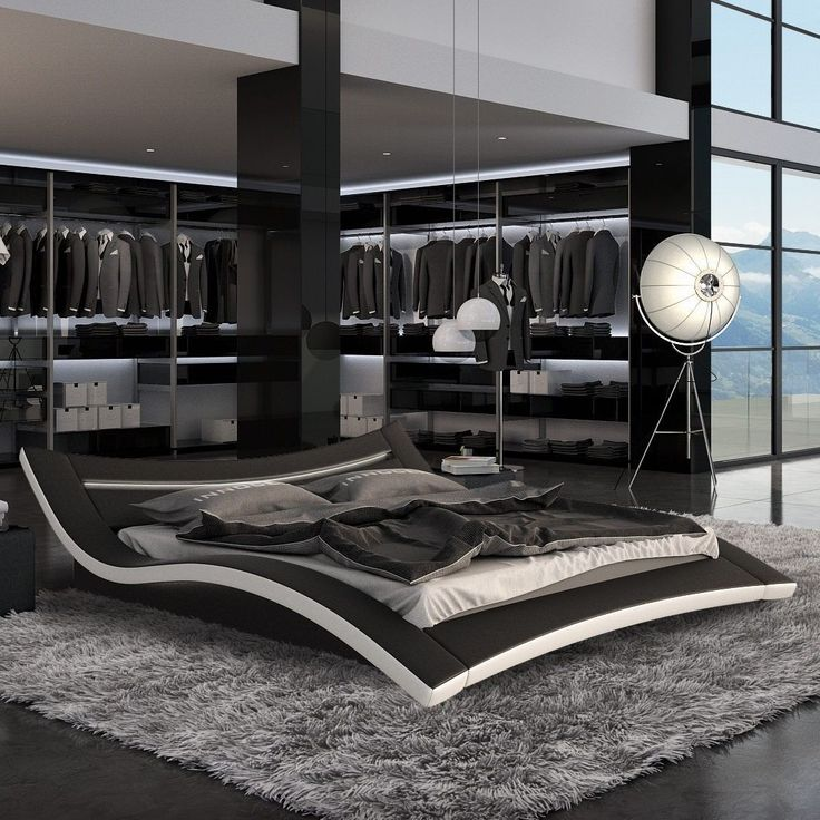 Modern Black Bedroom seducce modern black bed with led lighting queen and king | ebay